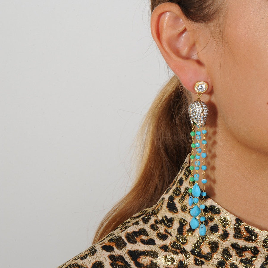 Tassel earrings with turquoise and chrysoprase drops katerina psoma