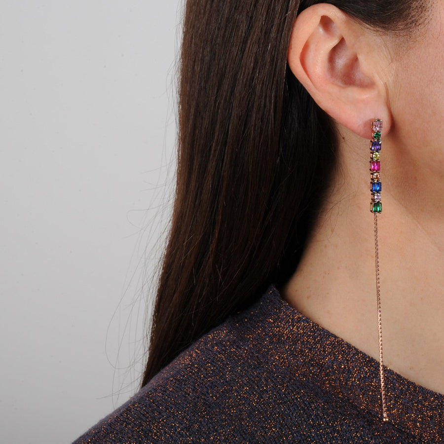 Rose Plated Dangle Earrings with Faceted Colored Zirconia katerina psoma