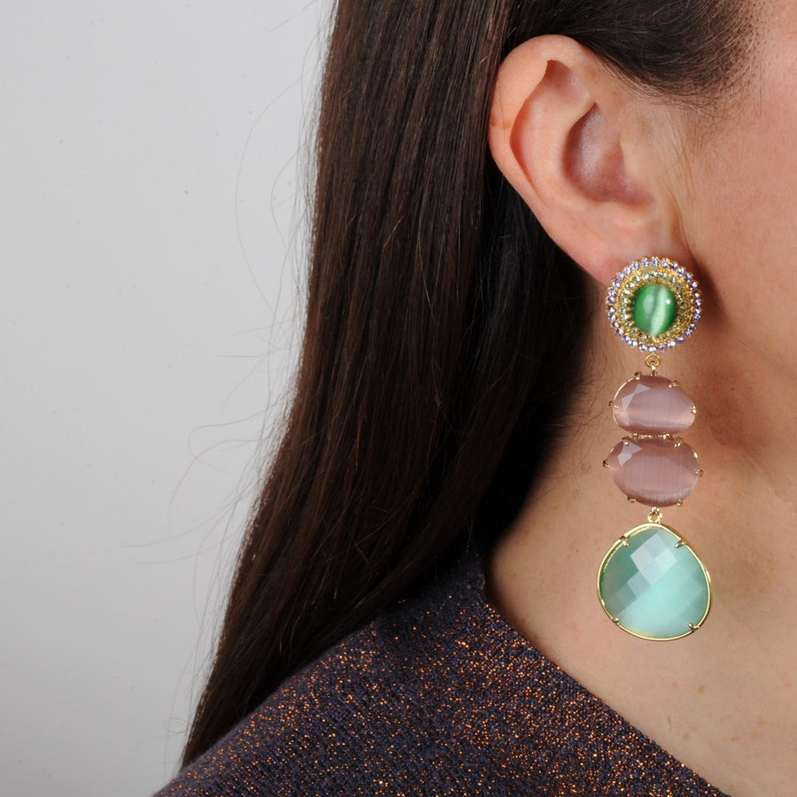 Dangle Earrings with Green Cabochons katerina psoma gold plated