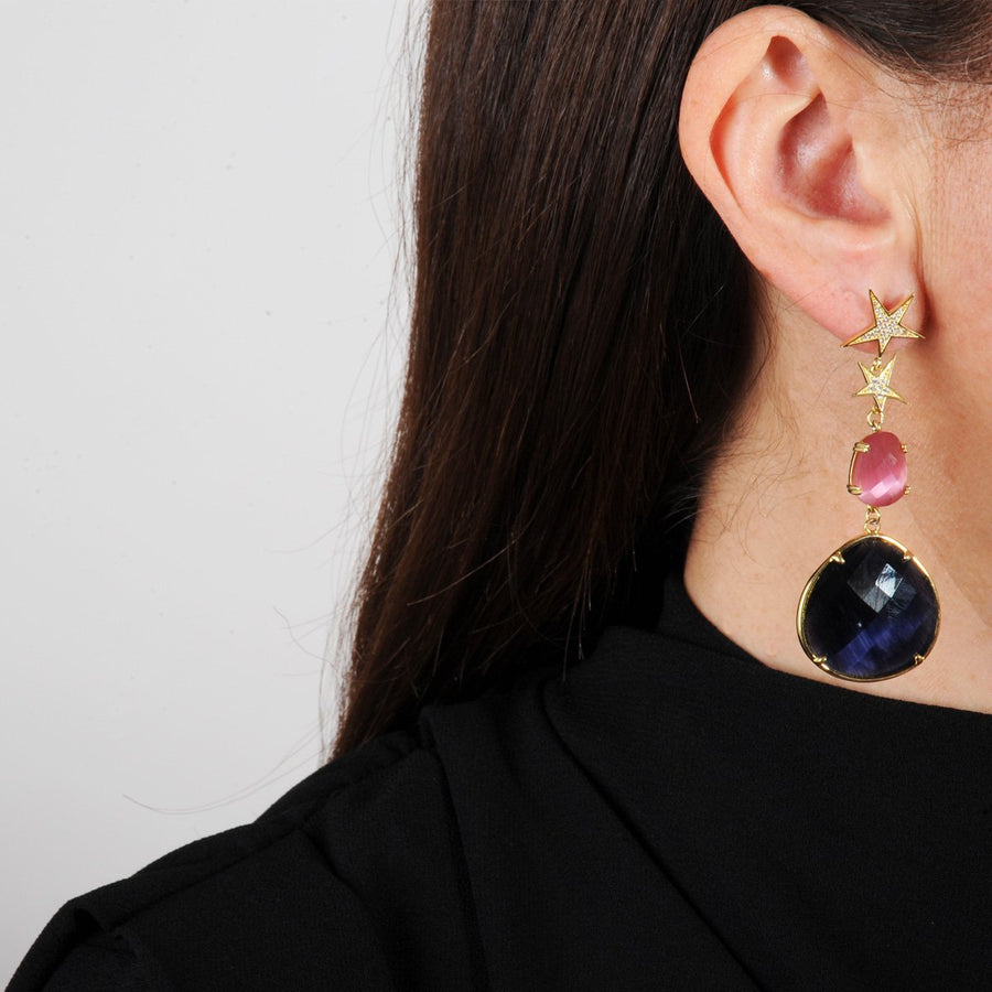 Pink Cat's Eye Dangle Earrings with Blue Drops katerina psoma model