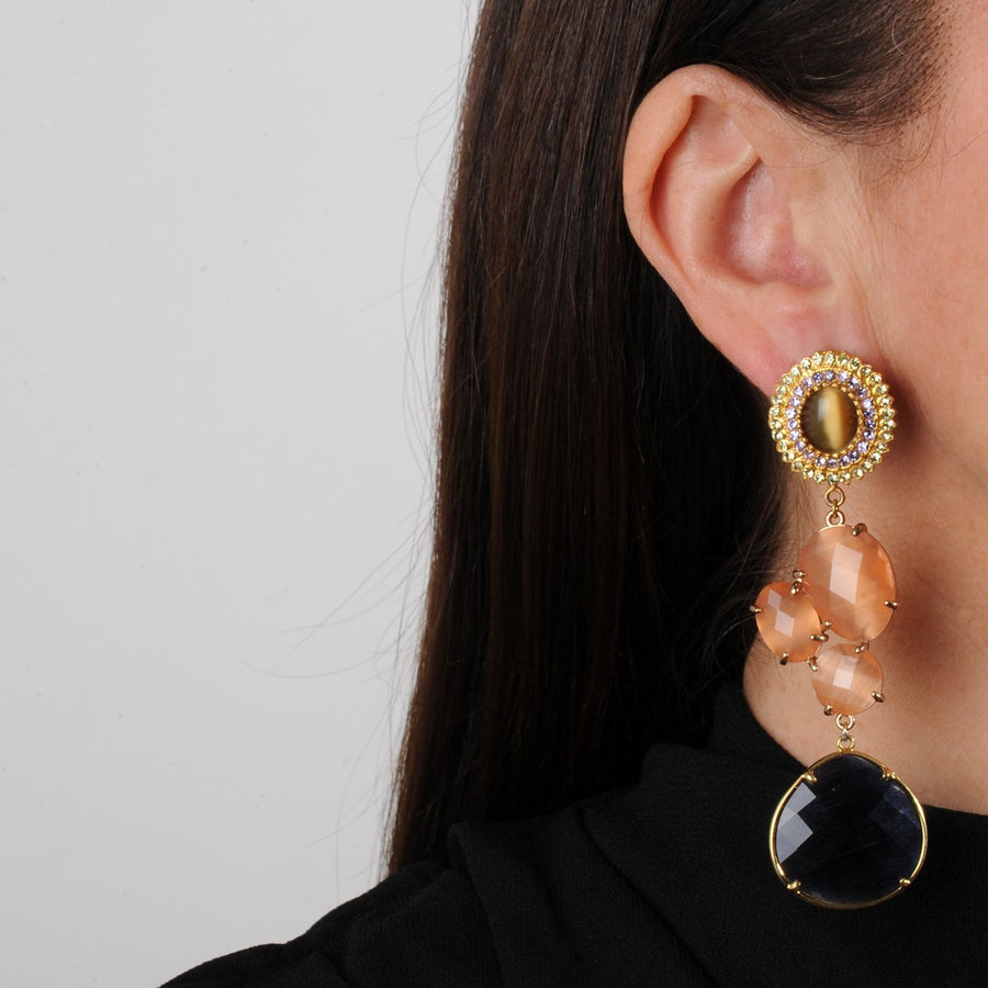 Blue evening Dangle Earrings with Brown Cabochons katerina psoma