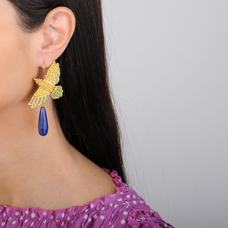 Gold Plated Metal Bird Earrings with Lapis Lazuli Drops katerina psoma