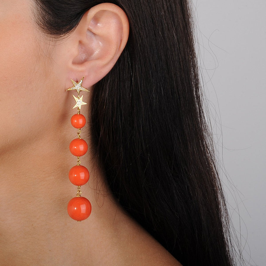 Coral Bead Dangle Earrings 925 gold plated silver