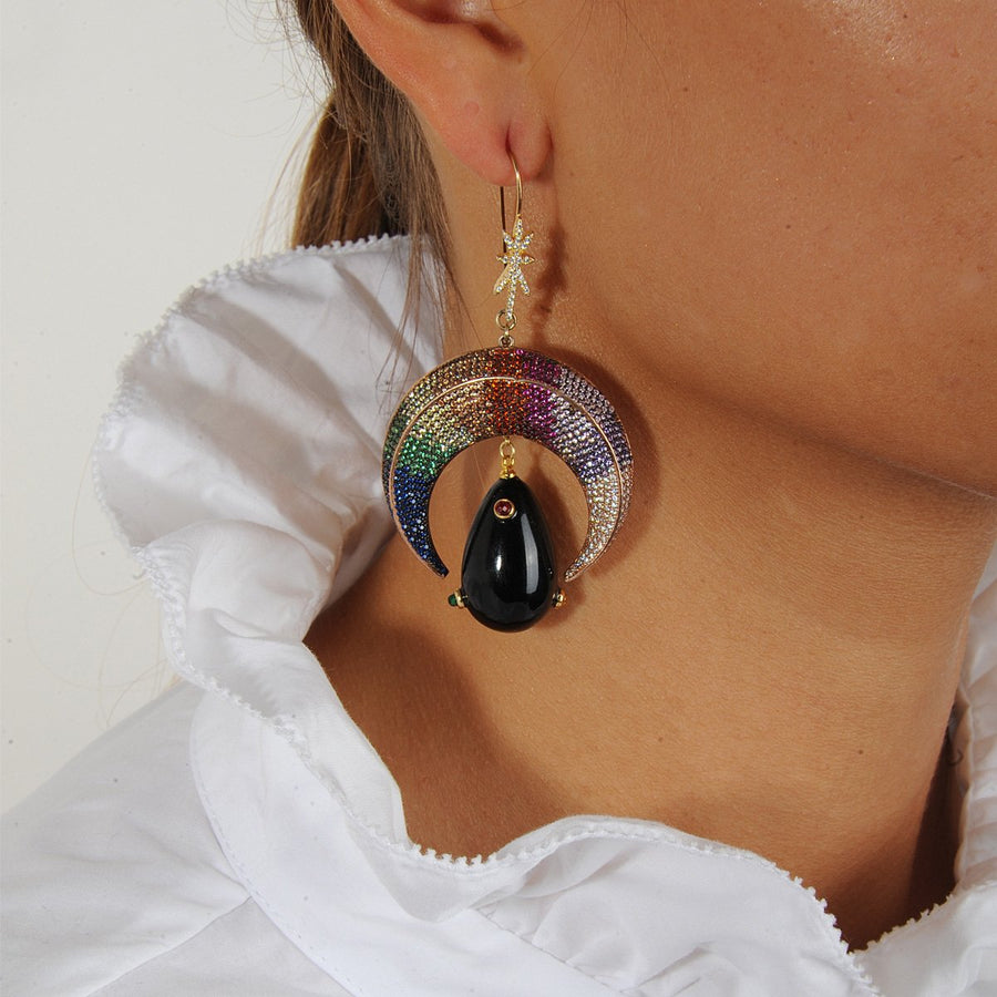 statement Dangle Earrings with Crystals and Black Drops katerina psoma