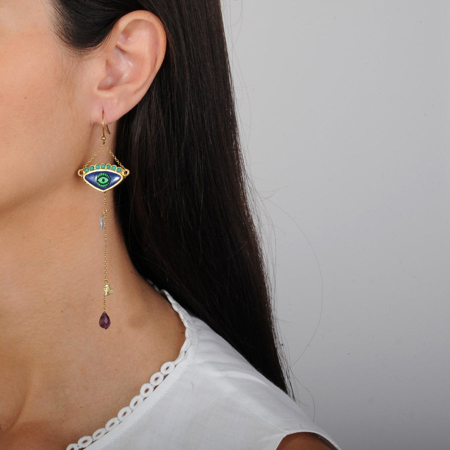 Enamel Hook Evil Eye Earrings with Semiprecious Stones 925 gold plated silver