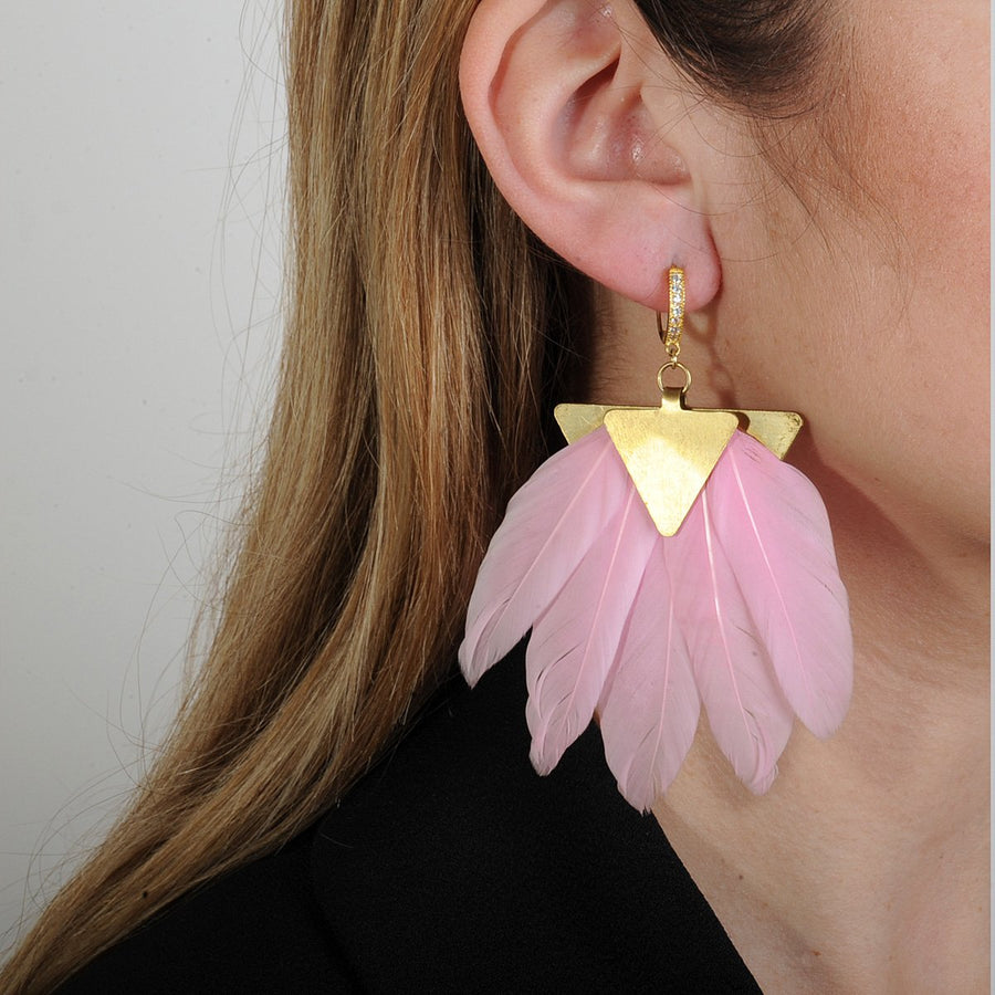 statement earrings with pink feathers katerina psoma