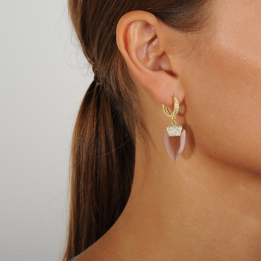 Hoops with Faceted Pink Dangles katerina psoma