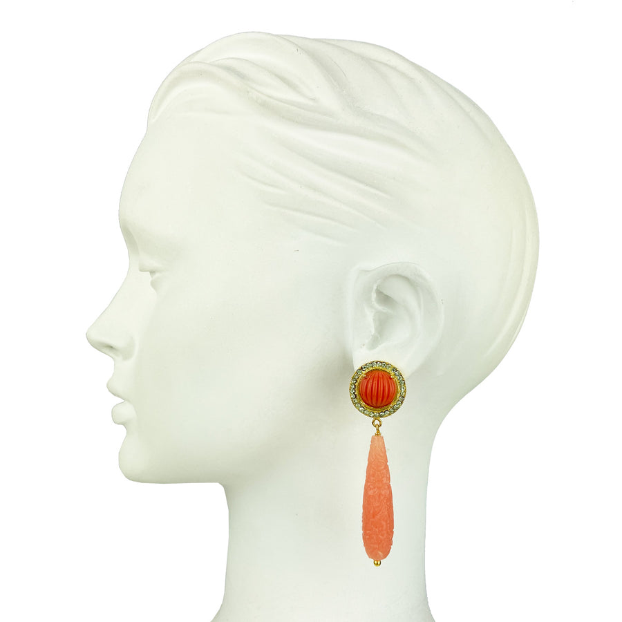 stud rosettes earrings with coral resin drops katerina psoma close up