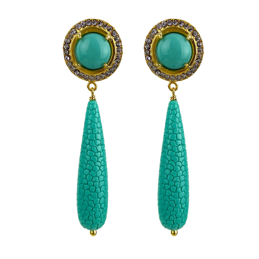 stud rosettes earrings with turquoise drops katerina psoma