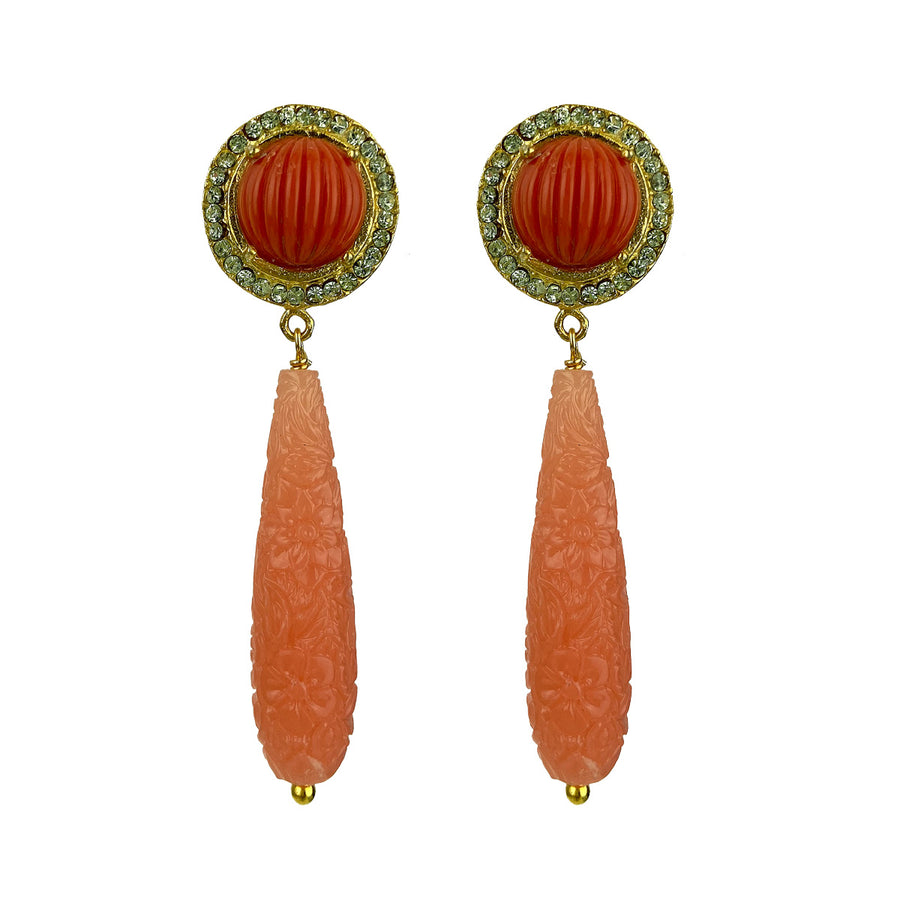 stud rosettes earrings with coral resin drops katerina psoma