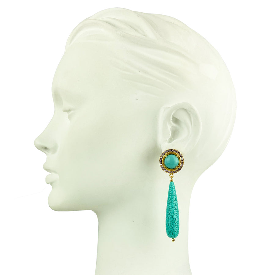 stud rosettes earrings with turquoise drops katerina psoma close up