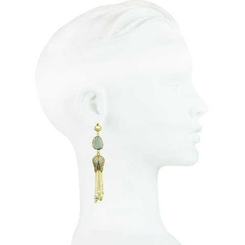 Eleanor Tassel and Cat's Eye Slab Earrings