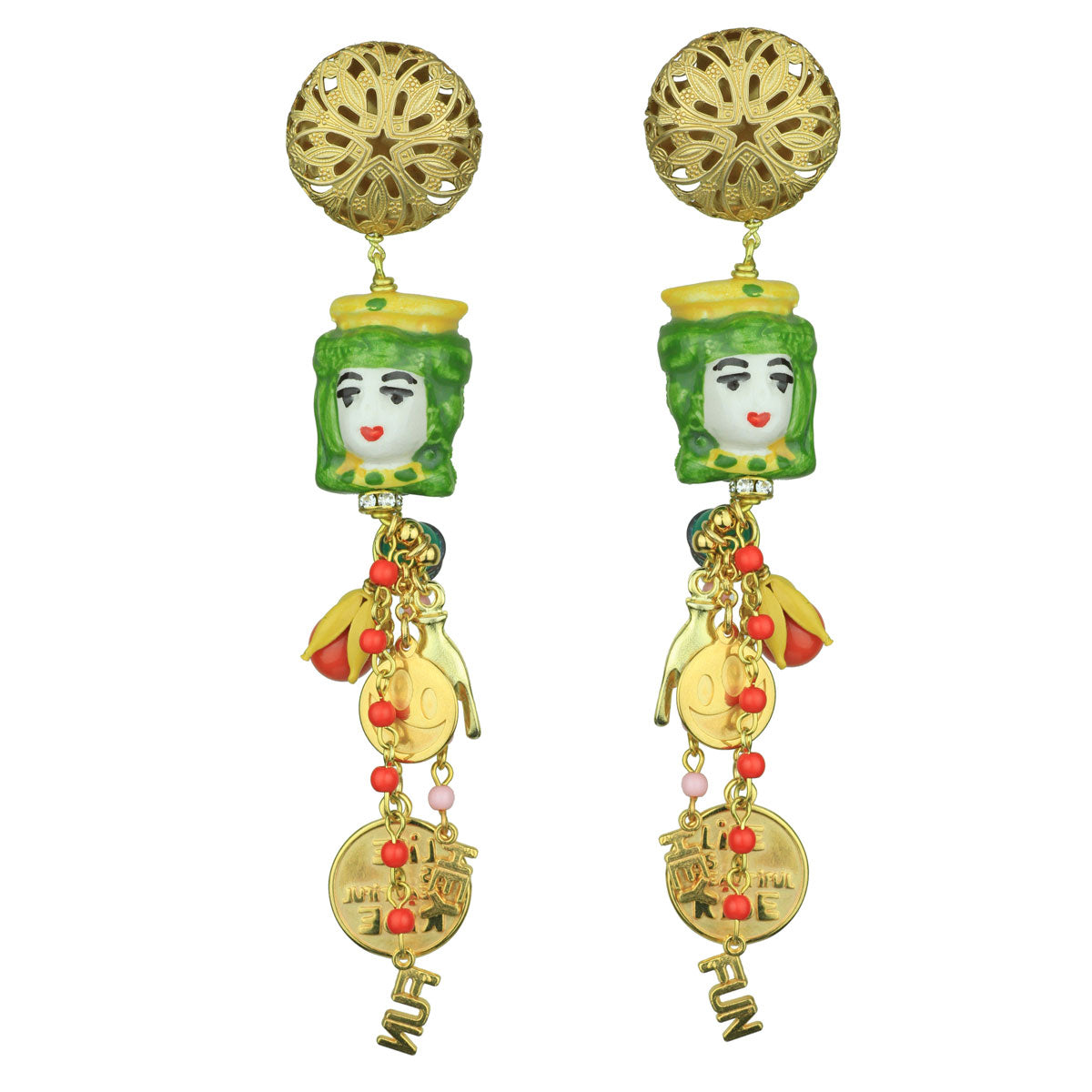 9b740b522 Angelica Dangle Clip Earrings with Green Sicilian Ceramic and Charms ...