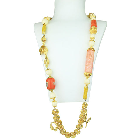 Claudia Gold Plated Long Chain Necklace With Charms and Ivory Colored Beads
