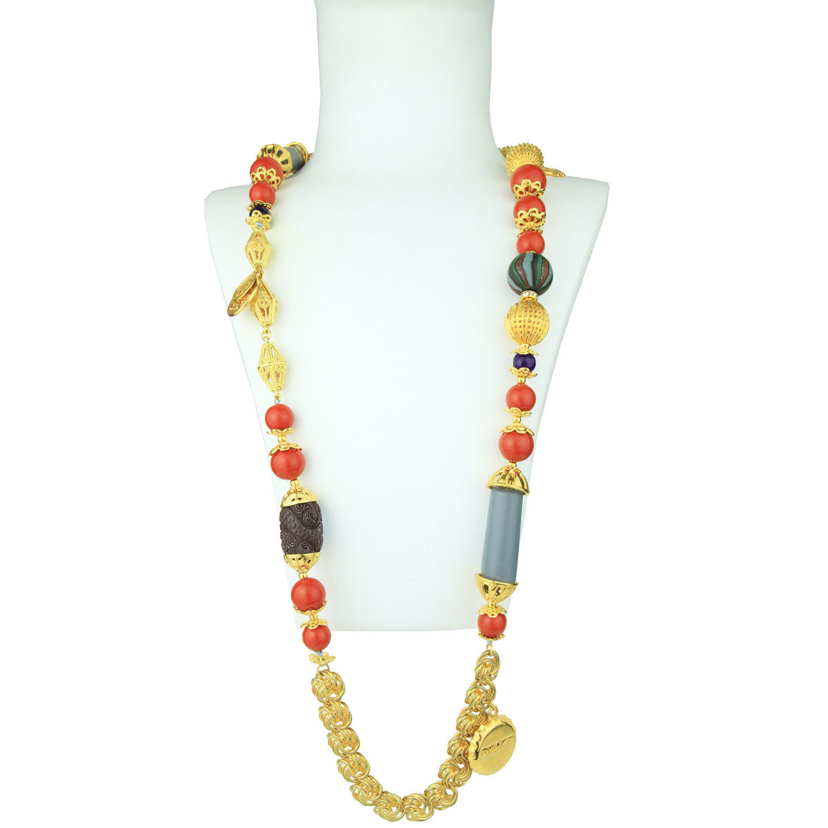 Claudia Gold Plated Long Chain Necklace With Charms and Coral Beads