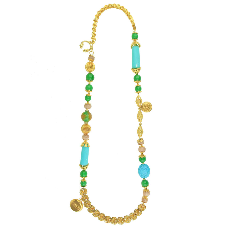 Gold Plated Long Chain Necklace With Charms, Turquoise and Green Beads