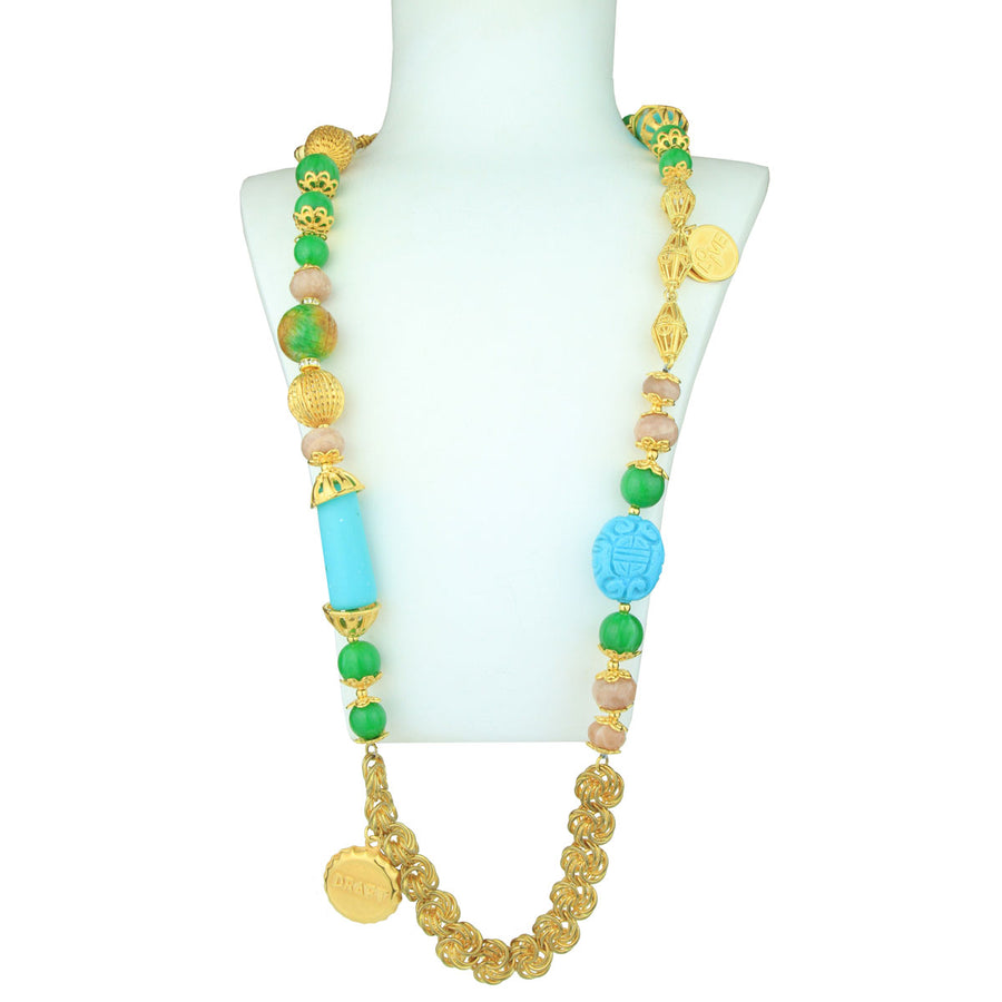 Claudia Gold Plated Long Chain Necklace With Charms, Turquoise and Green Beads