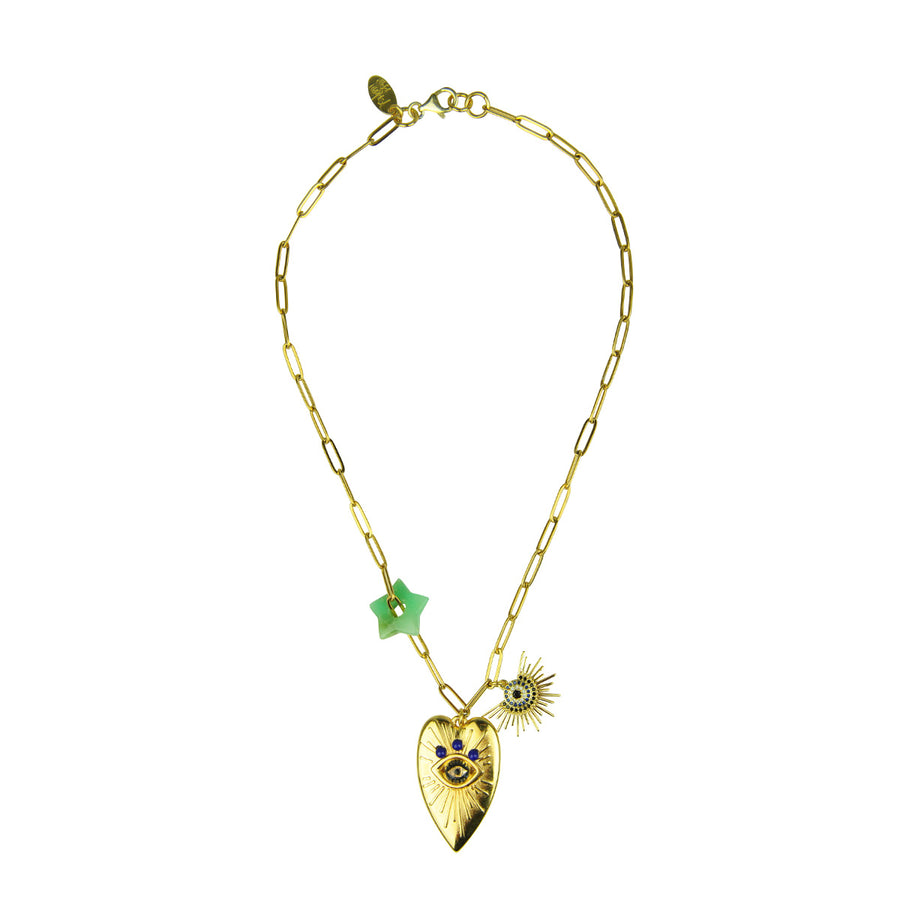 Katerina Psoma Chain Necklace with Charms with chrysoprase costume jewelry
