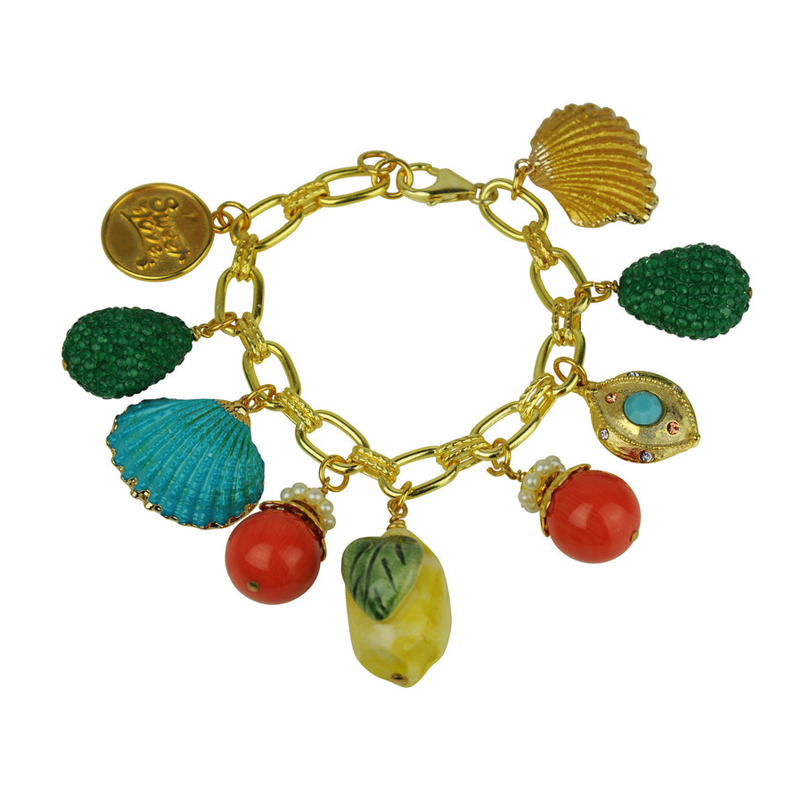 Katerina Psoma charm bracelet with lemon ceramic, beads and chain