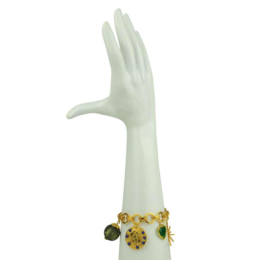 Katerina Psoma  Chain Bracelet With Charms and Green Heart costume jewelry