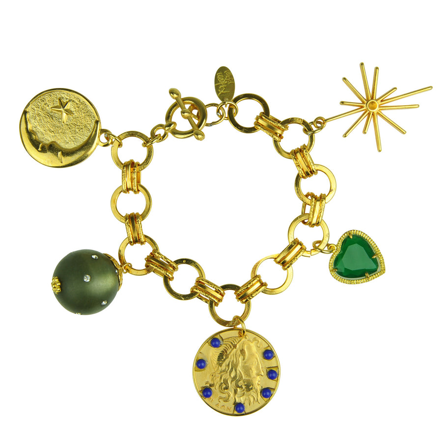 Katerina Psoma  Chain Bracelet With Charms and Green Heart