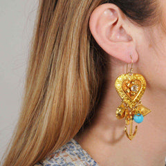 hook earrings with vintage charms katerina psoma