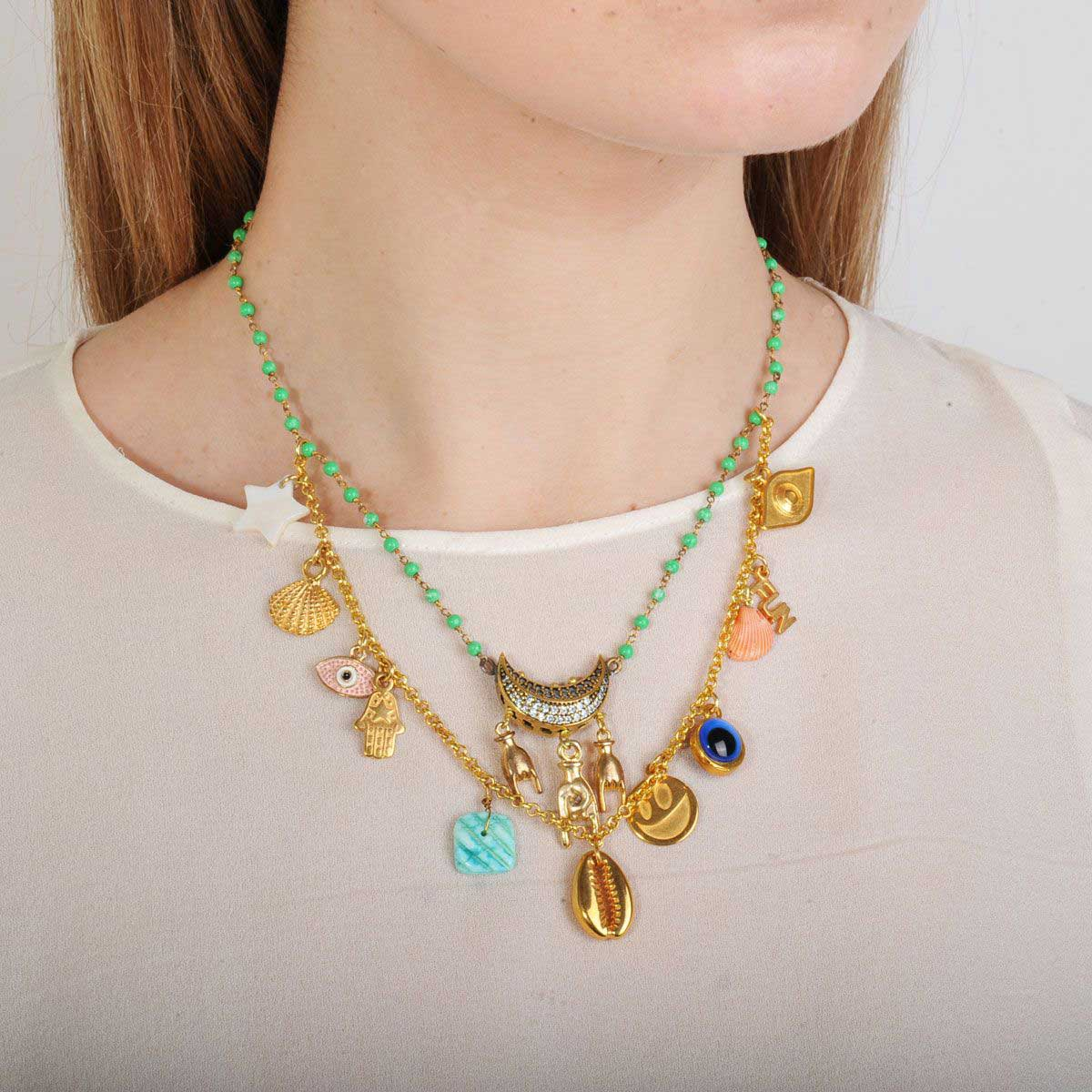 Double row short necklace with charms, shells and chrysoprase