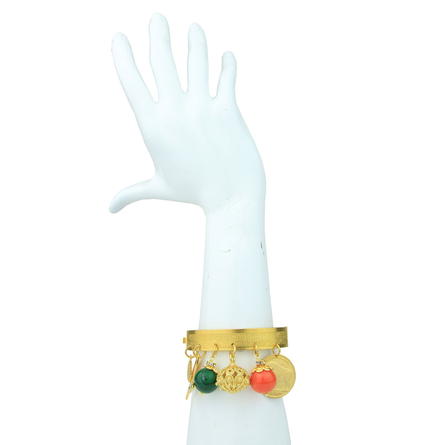 Angelica Gold Plated Cuff Bracelet With Vintage Charms