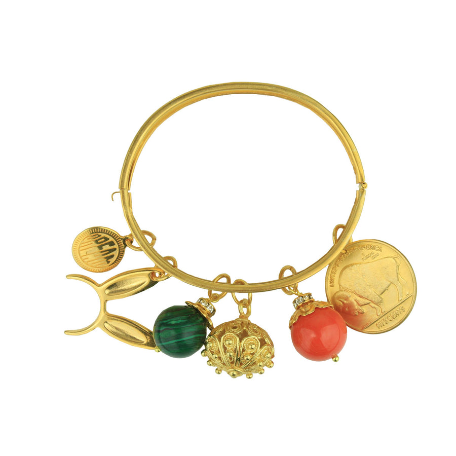 Bronze cuff bracelet with charms katerina psoma