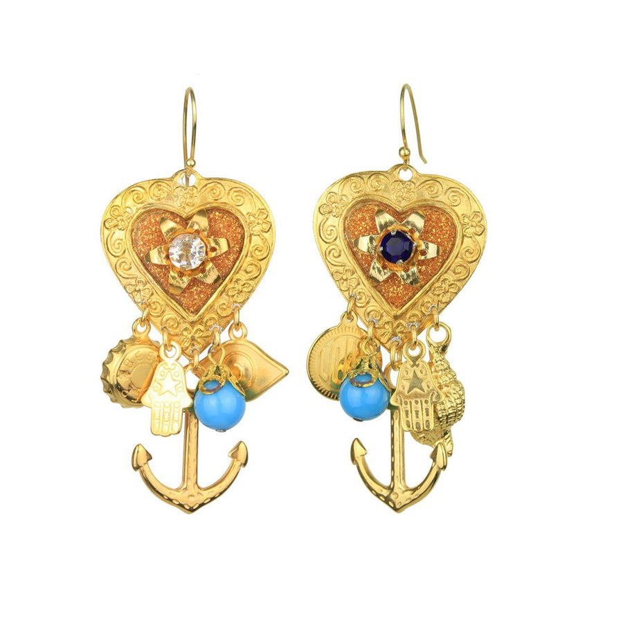 Hook earrings with charms katerina psoma katerina psoma