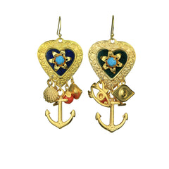 Claudia Vintage Heart Charm Dangle Earrings