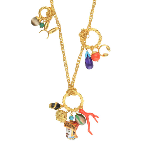 Angelica Gold Plated Long Chain Necklace With Charms and Sicilian Ceramic