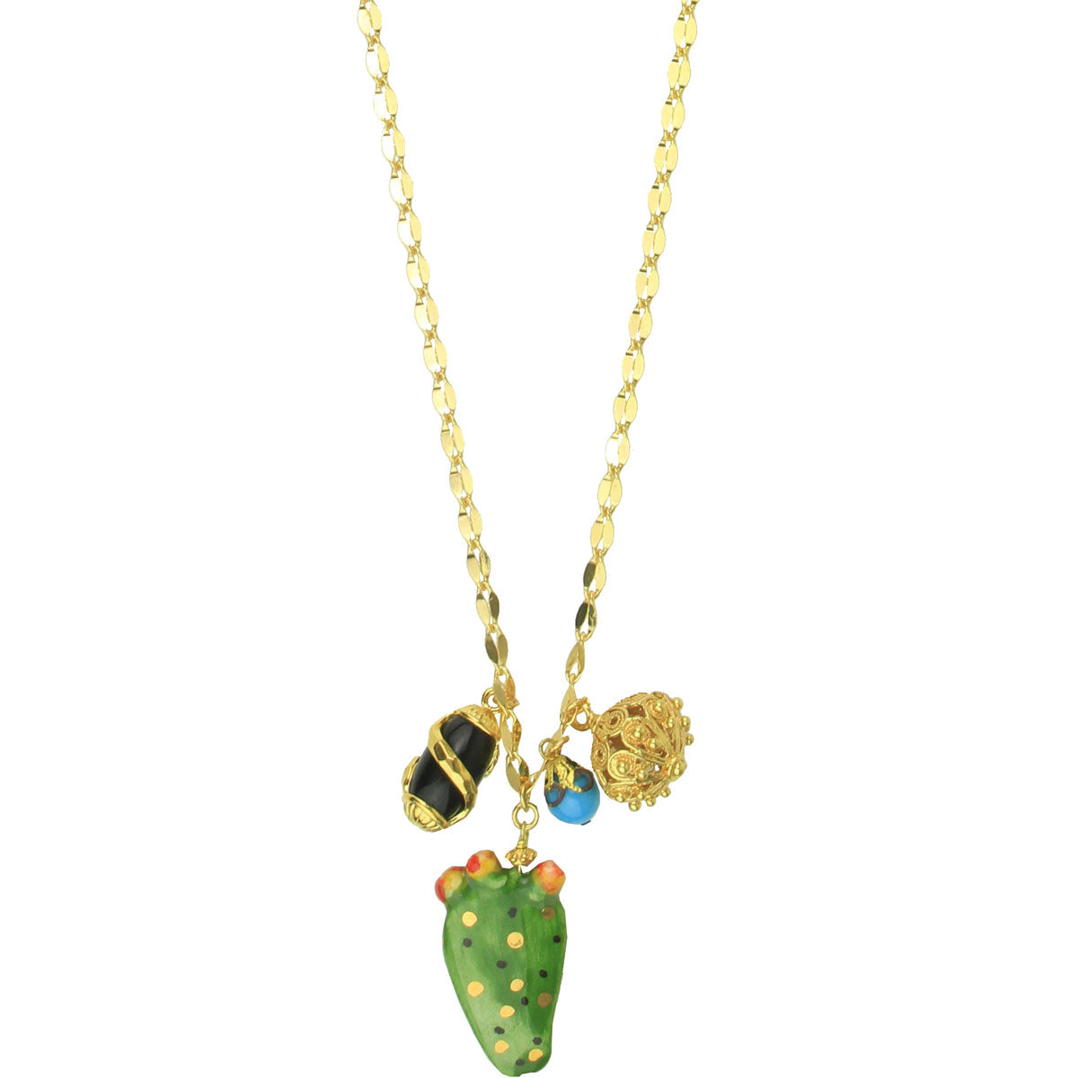 Angelica Gold Plated Chain Necklace With Charms