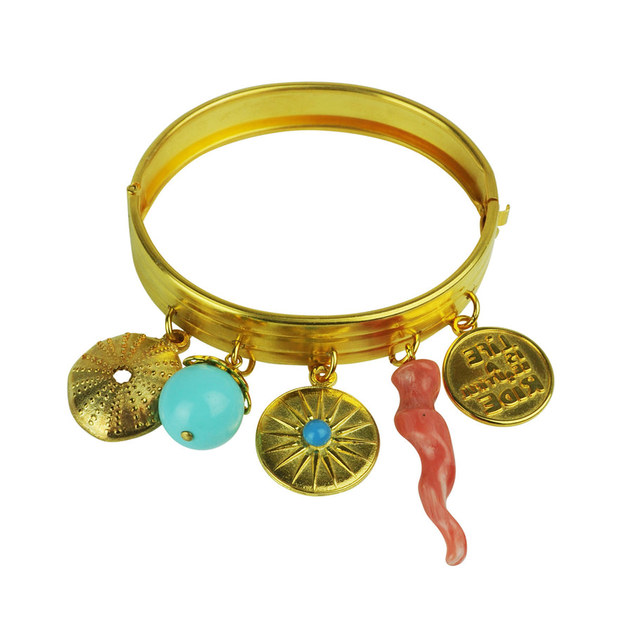 gold plated charm bracelet with turquoise bead katerina psoma and vintage charms