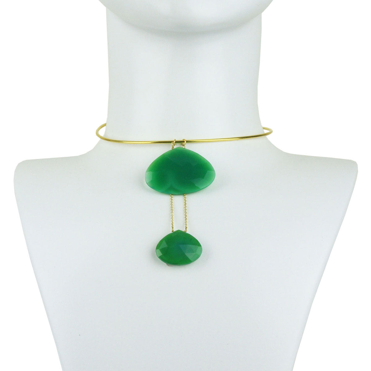 Selene Gold Plated 925 Sterling Silver Collar Necklace with Chrysoprase Drops