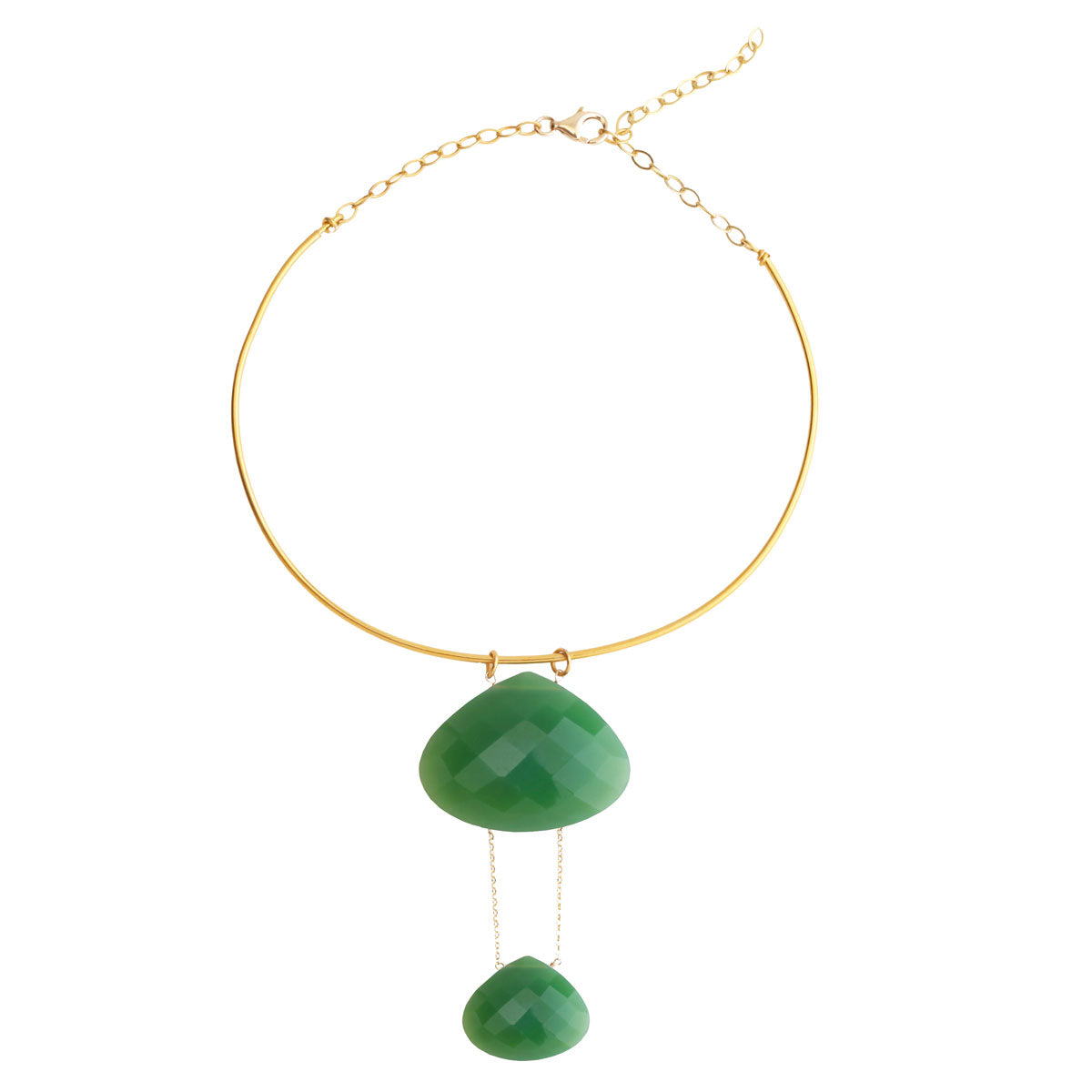 silver width sliced diamond champagne v chrysoprase kaia sterling necklace and adornia p