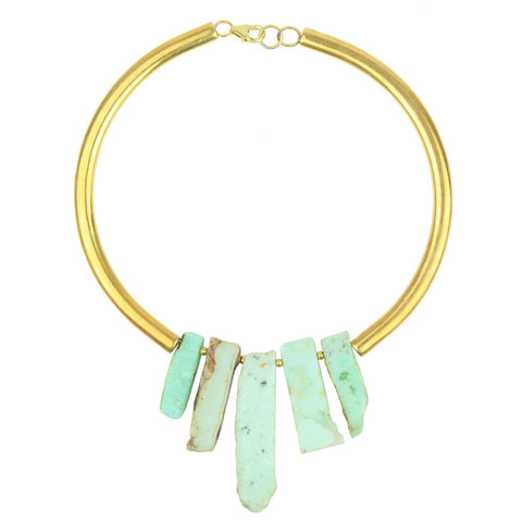 Selene Chrysoprase Gold Plated Metal Collar Necklace