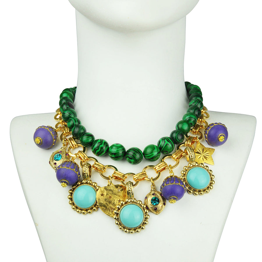 costume jewelry Malachite Short Necklace with Charms