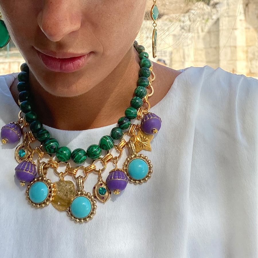 Katerina Psoma Malachite Short Necklace with Charms luxury