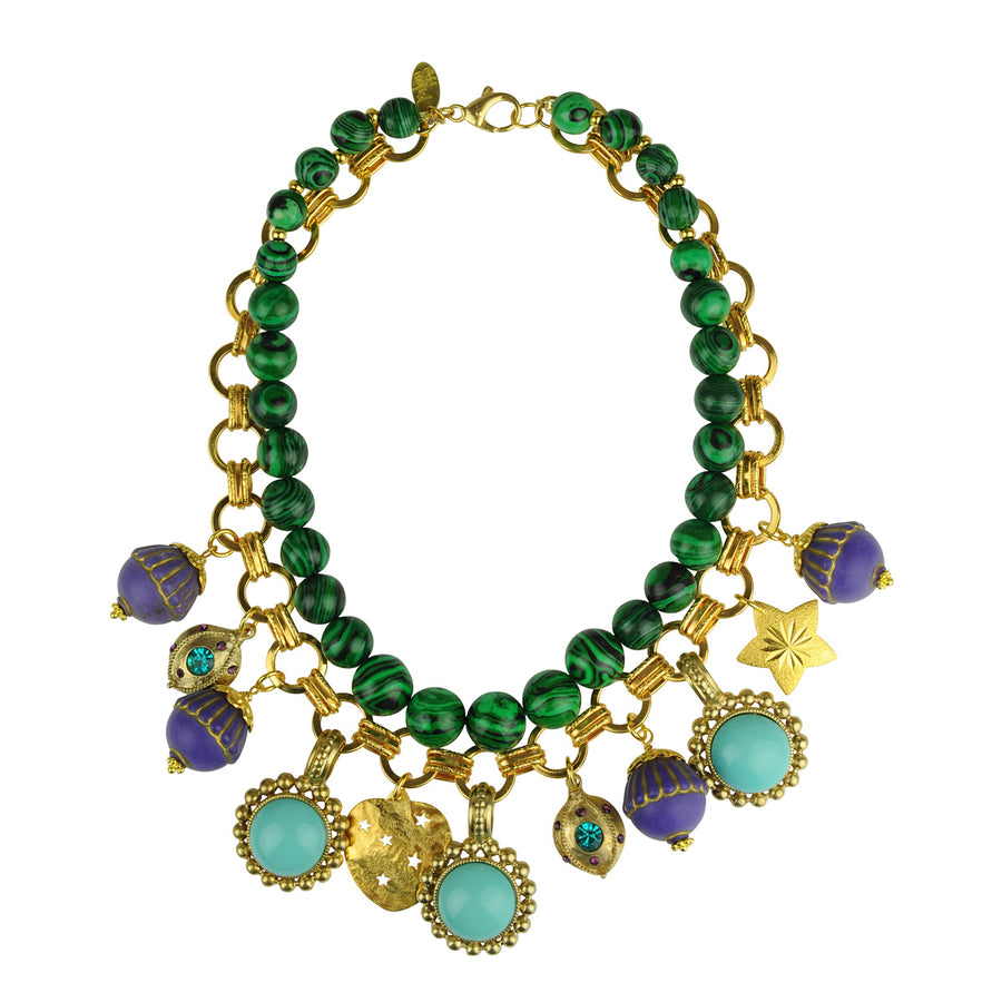 Katerina Psoma Malachite Short Necklace with Charms