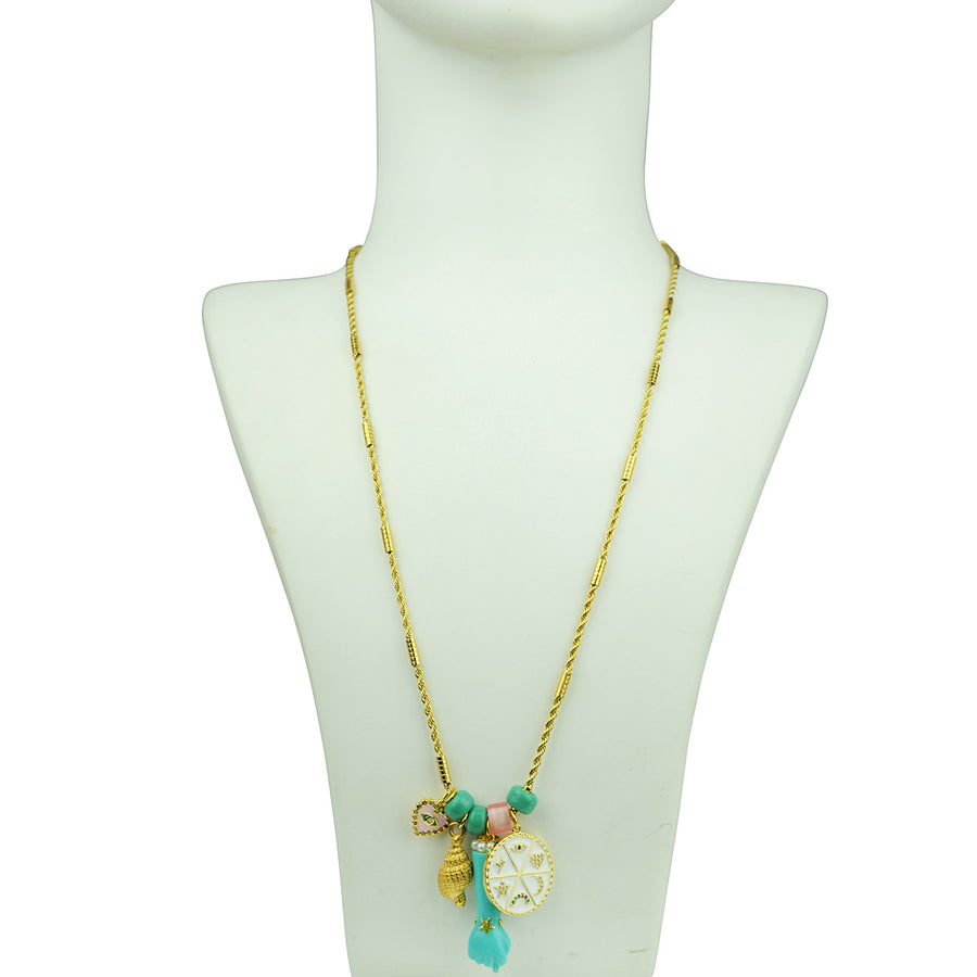 Katerina Psoma Necklace With Charms and Turquoise Votive bust