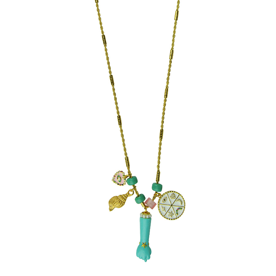 Katerina Psoma Necklace With Charms and Turquoise Votive