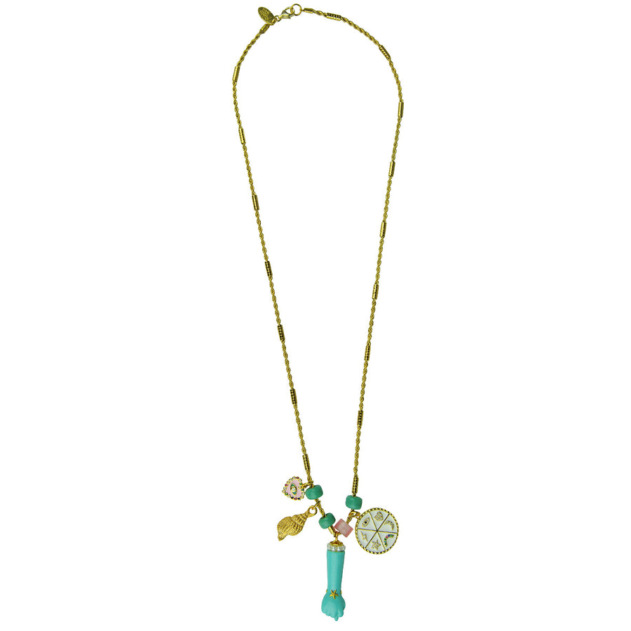 Katerina Psoma Necklace With Charms and Turquoise Votive costume jewelry