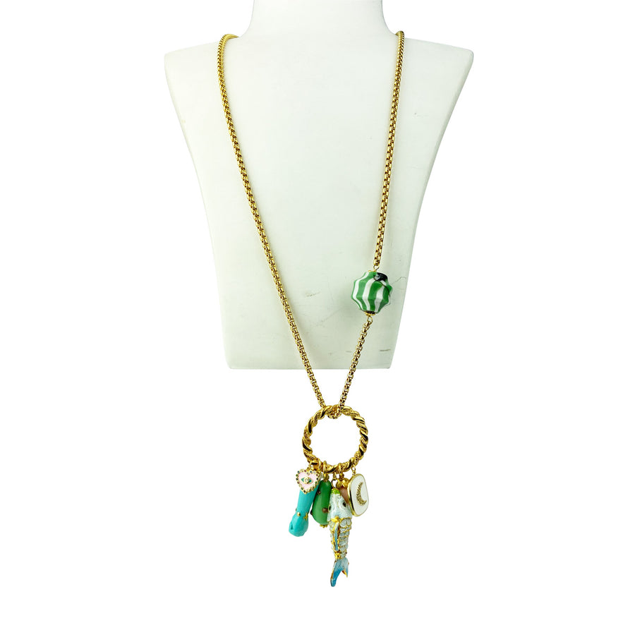 Katerina Psoma Long Chain Necklace With Charms Turquoise bohemian style