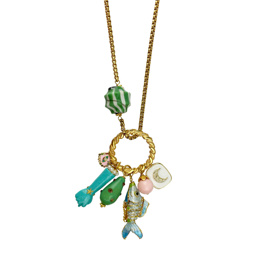 Katerina Psoma Long Chain Necklace With Charms Turquoise