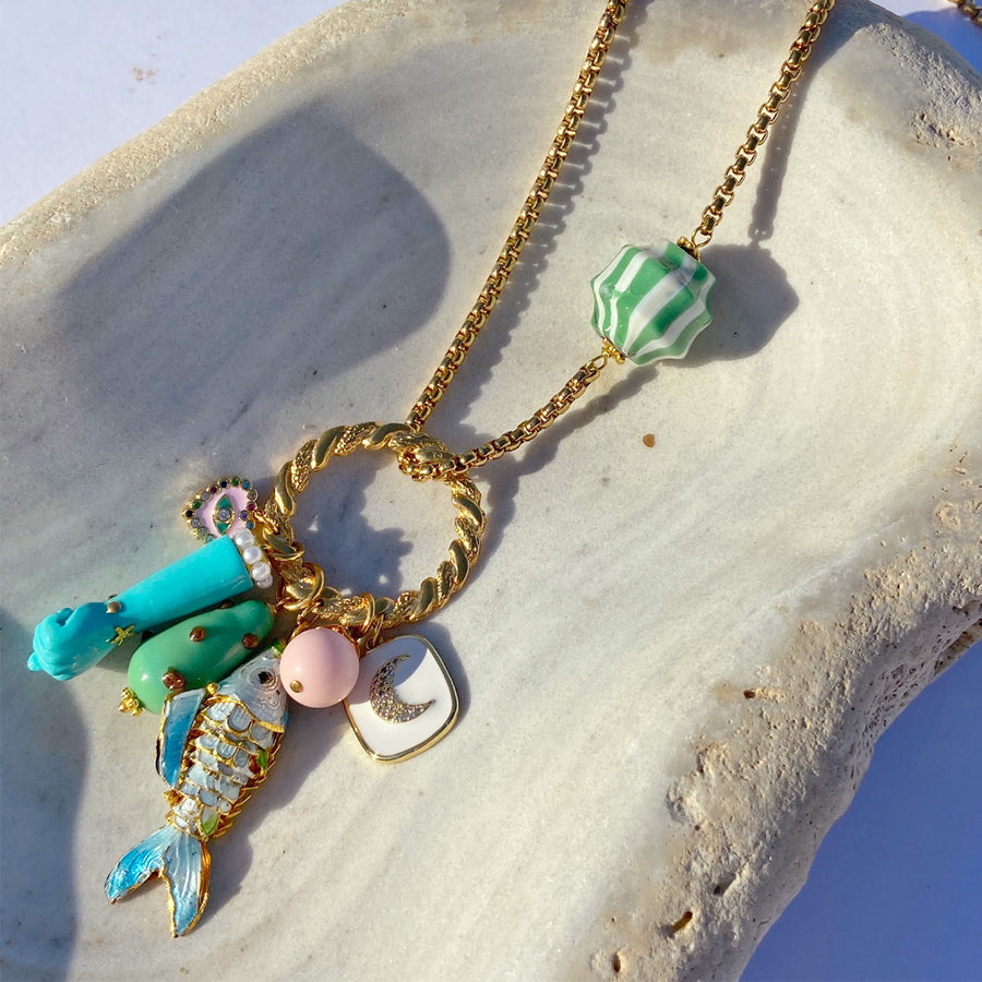 Katerina Psoma Long Chain Necklace With Charms Turquoise close up