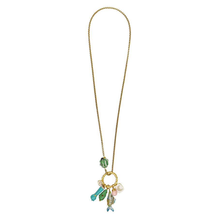 Katerina Psoma Long Chain Necklace With Charms Turquoise semiprecious jewelry