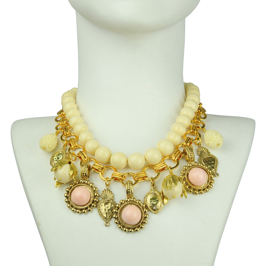 Katerina Psoma White Short Statement Necklace with Charms