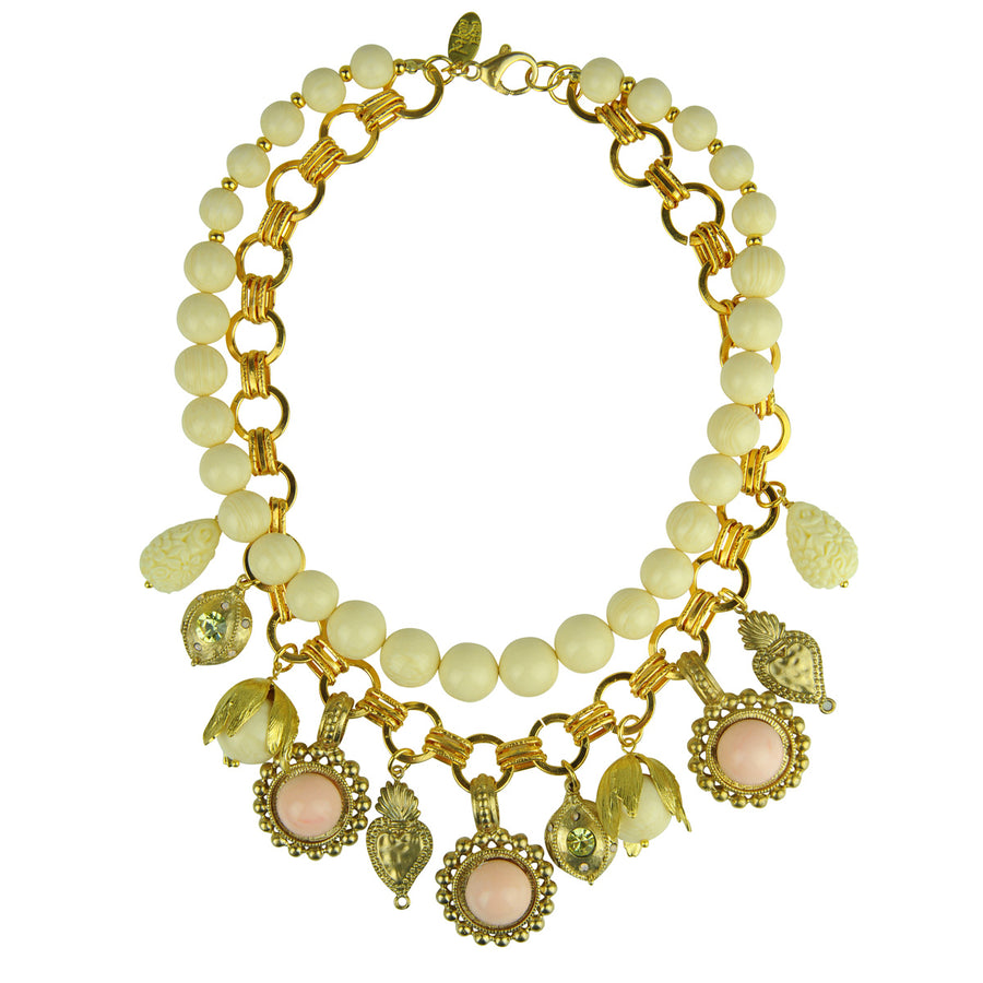 Katerina Psoma White Short Necklace with Charms