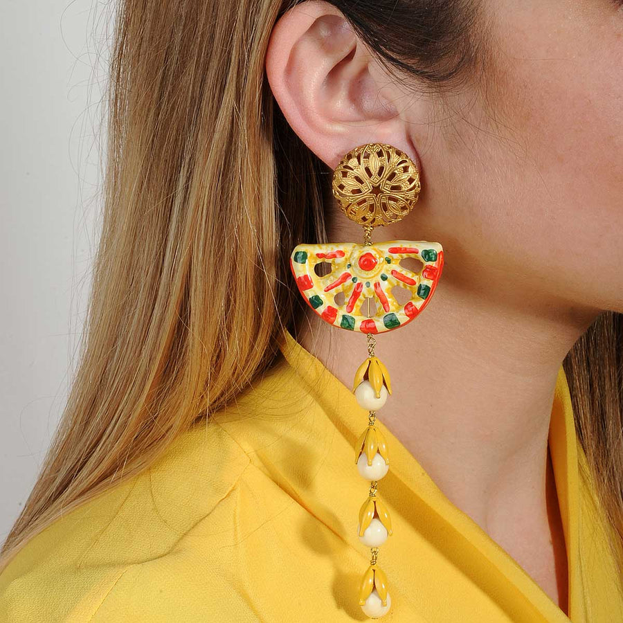 Ceramic dangle clip earrings yellow  and white katerina psoma